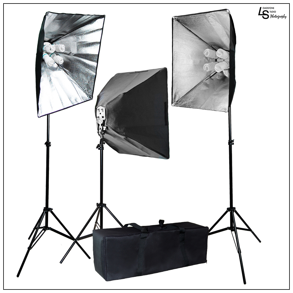 2400W Softbox Light Stand Kit with 3x Light Heads and 12x 45W CFL Bulbs for Photography and Video Lighting By Loadstone Studio WMLS0266