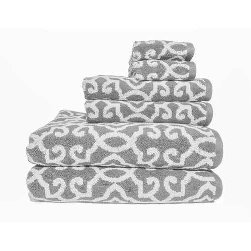 Better Homes and Gardens Jacquard 6-Piece Towel Set, Silver