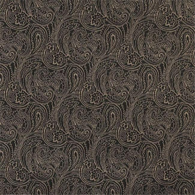Designer Fabrics B633 54 in. Wide Black, Traditional Paisley Jacquard Woven Upholstery Fabric