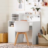South Shore Crea Craft Table wth Hutch, White