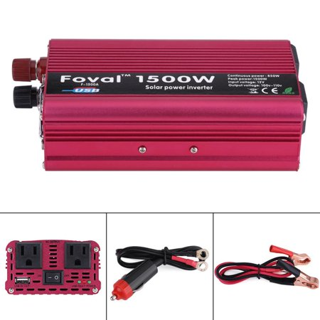 1500W DC 12V to AC 110V Power Inverter Converter W/ Dual Outlets for Home Car Outdoor Use,1500W Power Inverter,12V to 110V Power (Ac To Dc Power Converter For Car Amp)