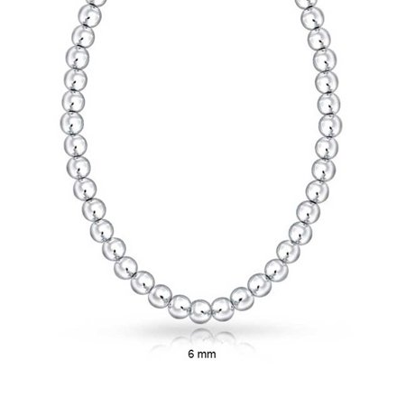 Classic 6mm High Polished Ball Round Bead Strand 925 Sterling Silver Necklace For Women 16IN or 18IN