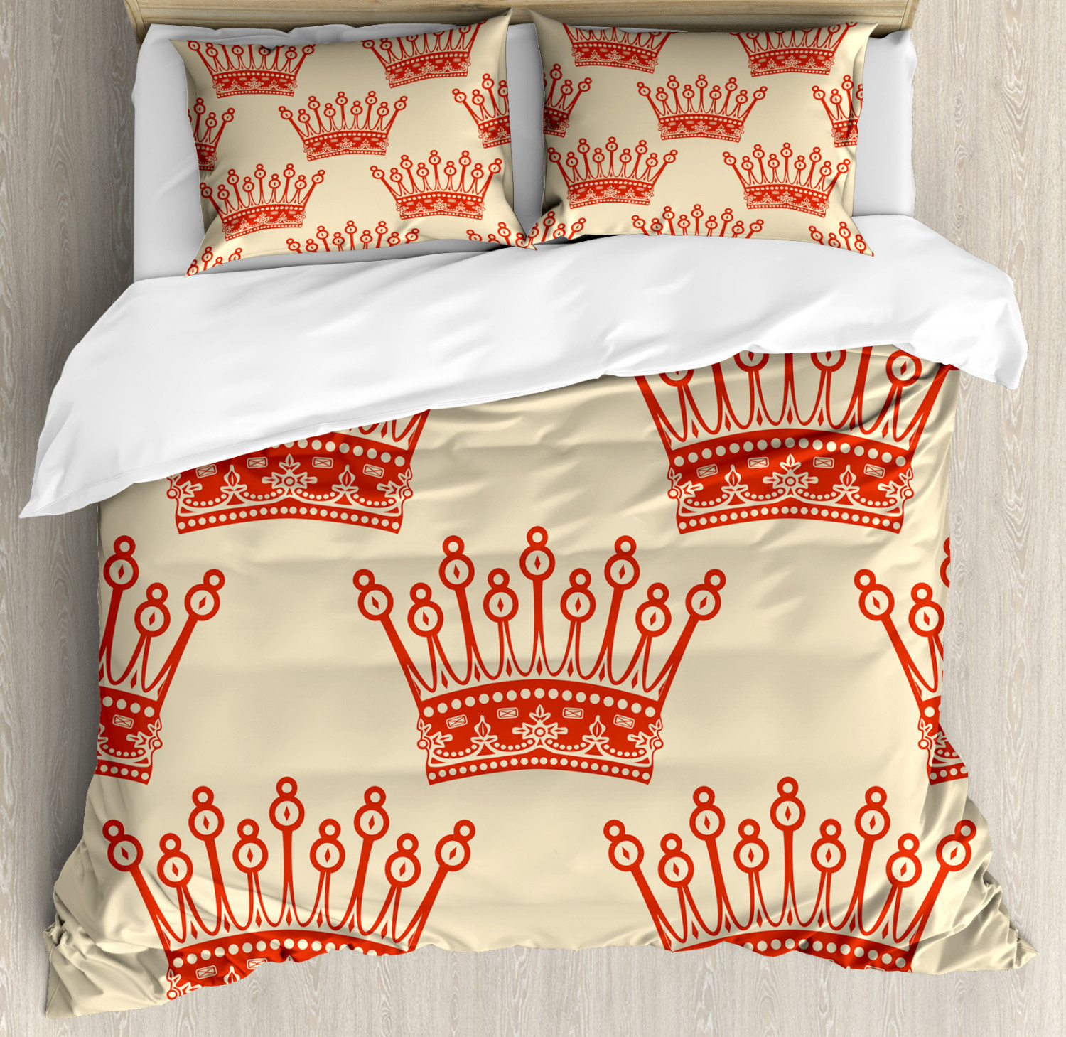 Queen Duvet Cover Set Crowns Pattern In Vintage Design Coronation Imperial Kingdom Nobility Theme Decorative Bedding Set With Pillow Shams Vermilion Sand Brown By Ambesonne Walmart Com Walmart Com