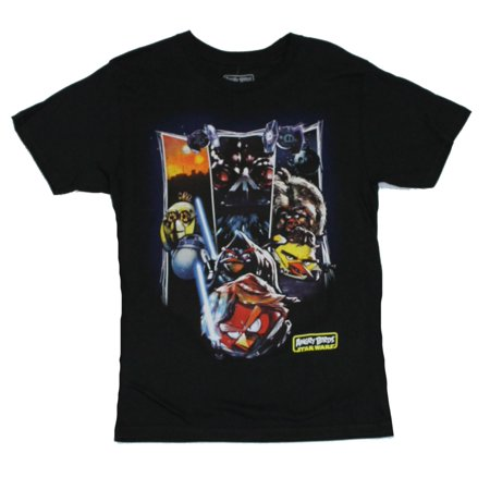 Angry Birds Star Wars Mens T-Shirt  - Three Swathes with Characters, Red Luke