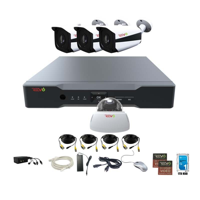 RevoAmerica Aero HD 4 Ch. Video Security System with 4 Indoor/Outdoor 5 Megapixel Cameras