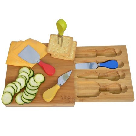 Bamboo Cheese - Vina Premium Bamboo Cheese Board Set with Storage Drawer & 4 Piece Cheese Knife Set –Small 8