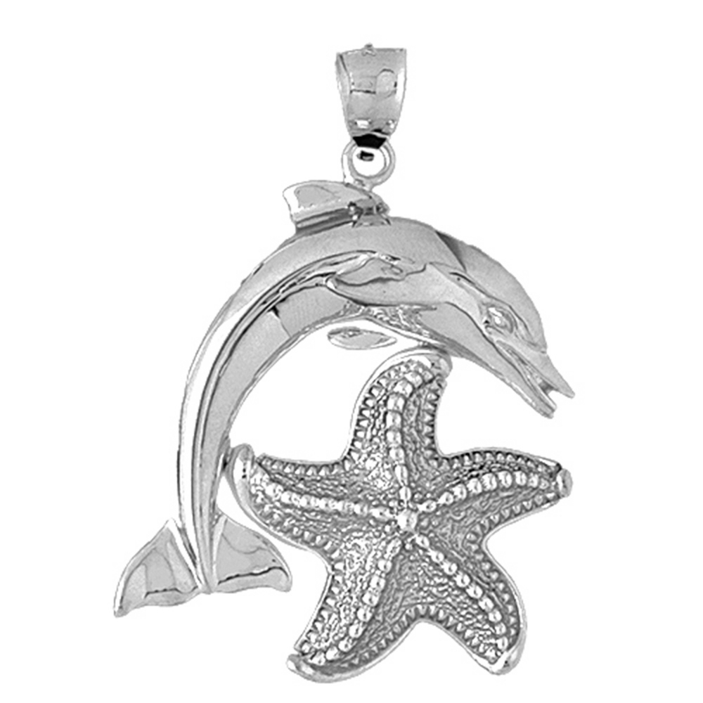 Sterling Silver Tricolor Dolphin With Starfish Pendant - 55 mm (Approx. 14.45 grams)