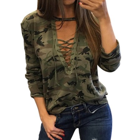 OUMY Women Camo Printed Laces Bandage Plunge V Neck Tops