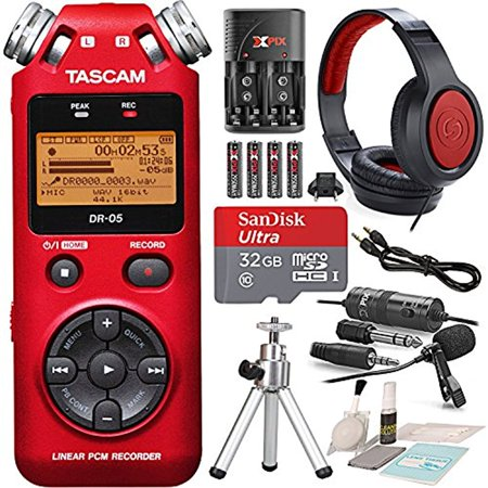 Tascam DR-05 (Version 2) Portable Handheld Digital Audio Recorder (Red) with Platnium accessory