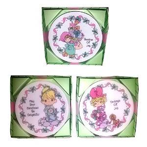 Precious Moments Porcelain Holiday Plates Collector Set of 3 Collectibles Collector Plates