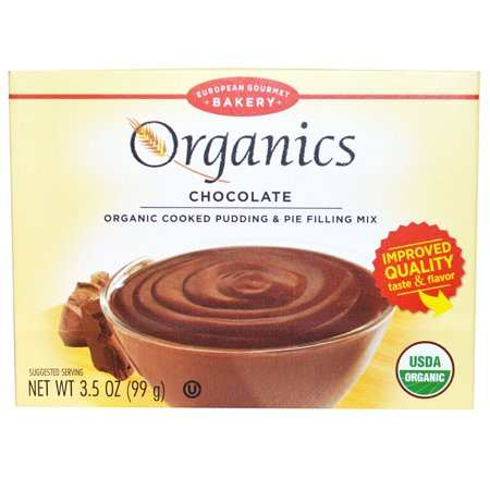 Cooked Pudding - European Gourmet Bakery, Organics, Cooked Pudding & Pie Filling Mix, Chocolate, 3.5 oz (pack of 6)