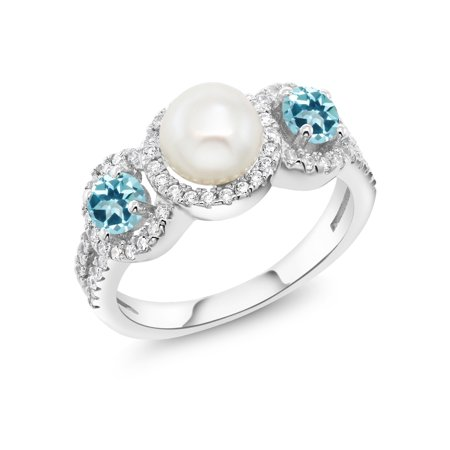 925 Silver Fashion Right-Hand Ring Set with Ice Blue Topaz from (Blue Topaz Fashion Ring)