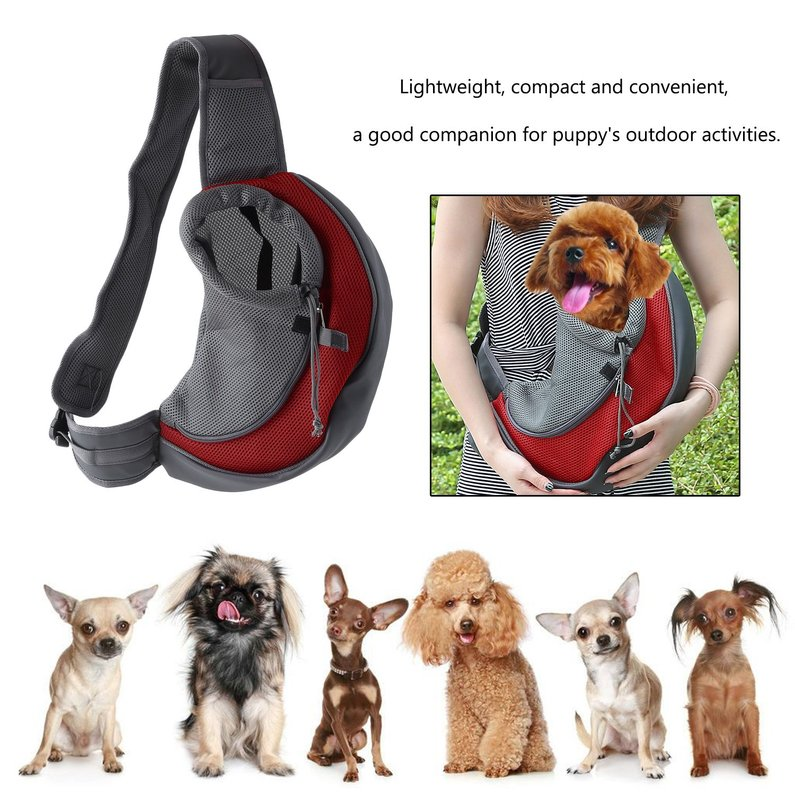 NEW Upgraded Portable Comfortable Cotton Single Shoulder Pet Dog Bag Breathable Mesh Puppy Travel Carrier Front Chest Sling Bag(Red)