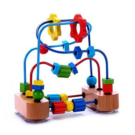 Classique Perle Maze Cube jouet pour bébés, enfants en bas âge - Perles Roller Coaster en bois sur fil robuste Cadres