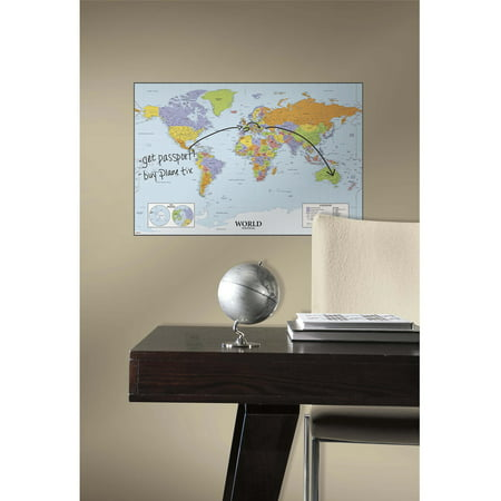 RoomMates World Map Dry-Erase Peel-and-Stick Giant Wall Decals