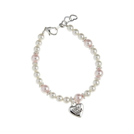 Pink And White Pearls With Little Sister Charm Bracelet
