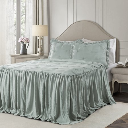 Ravello Pintuck Ruffle Skirt Bedspread Blue 2Pc Set Twin ()