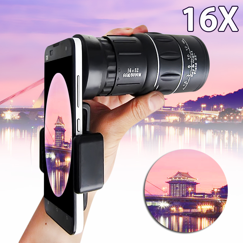 16X Optical Zoom HD Camera Lens Monocular Telescope with Universal Phone Holder for Outdoor Camping Hiking Concert