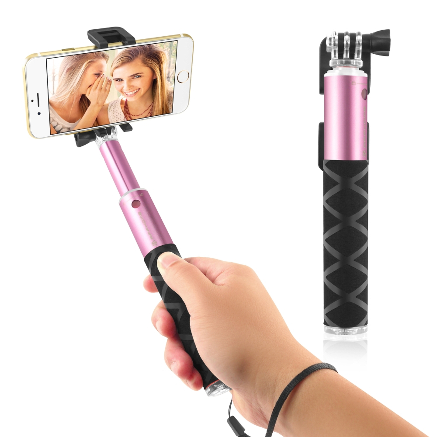 Insten 2016 EDITION Selfie Stick Portable Pocket-Size Extendable Handheld Monopod Holder Self-Portrait Universal for Apple IOS iPhone 7 6 6s Plus SE 5 5s \/ Android Phone Samsung LG Smartphone Pink