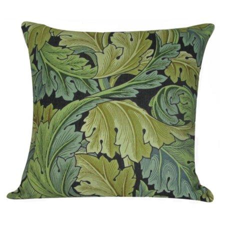 """William Morris Antique Leaves Design Decorative Accent Throw Pillow with Insert 18"""""""