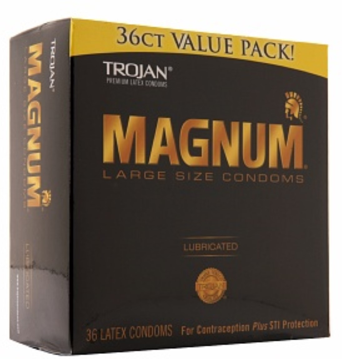 TROJAN Magnum Lubricated Latex Condoms, Large Size 36 ea (Pack of 4)