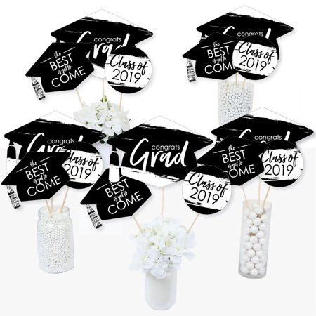 Black and White Grad - Best is Yet to Come - 2019 Graduation Party Centerpiece Sticks - Table Toppers - Set of 15 - College Graduation Centerpieces