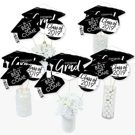 Black and White Grad - Best is Yet to Come - 2019 Graduation Party Centerpiece Sticks - Table Toppers - Set of 15 - Styrofoam Graduation Centerpieces