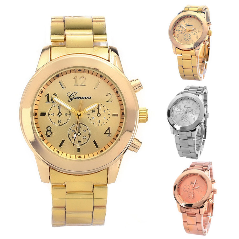 Fashion Ladies Women Girl Unisex Geneva Stainless Steel Quartz Wrist Watch