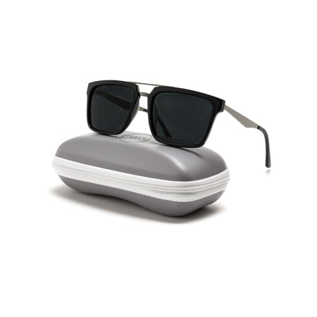 Bridget Square (WearMe Pro - Double Nose Bridge Square Black Lens Black Frame Sunglasses For Men )