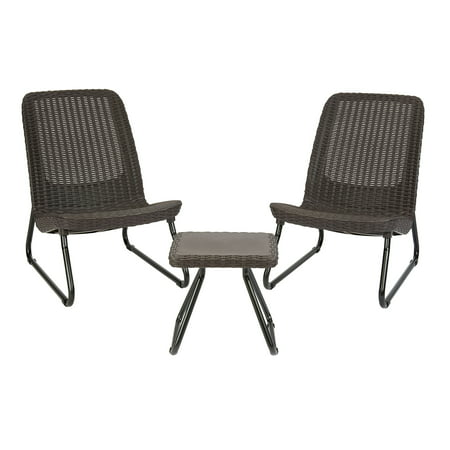 Keter Rio Resin 3-Piece Conversation Set, All-Weather Plastic Patio Lounge Furniture, Brown -