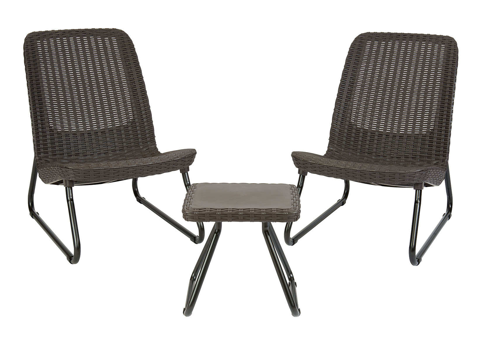 Keter Rio Resin 3 Piece Conversation Set, All Weather Plastic Patio Lounge  Furniture, Brown Rattan
