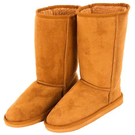 Cammies Women's Classic Winter Fur Snow Boot Faux Sheepskin Suede Vegan Mid Calf Faux Sheepskin Boot