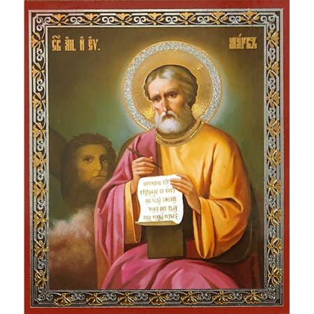 Russian Icon of Saint Mark The Apostle Gold Foiled Sofrino Icon Measuring 3 x 2-1/2 Inches by World Faith (Gold Foil Words)
