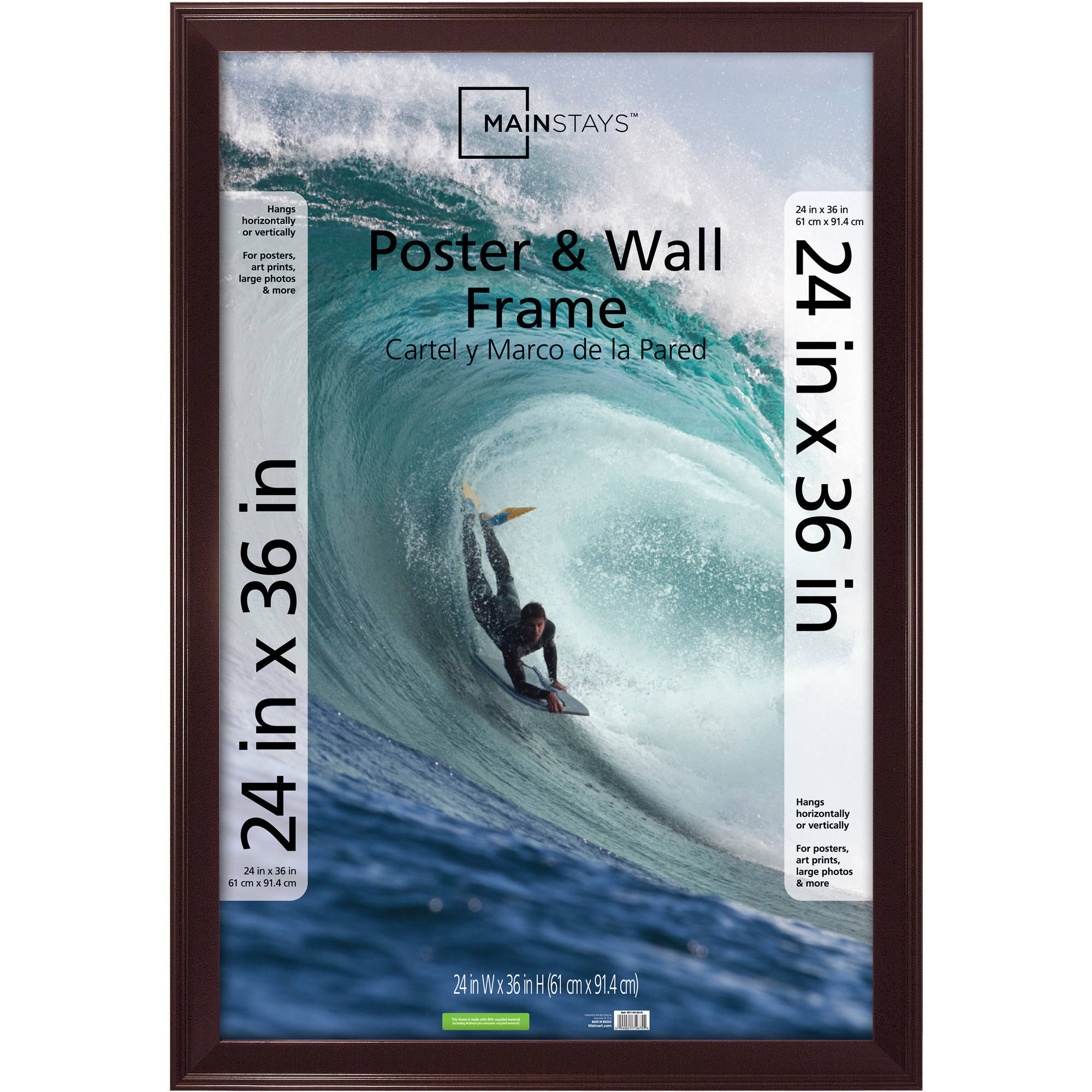 Mainstays 24x36 Casual Poster and Picture Frame, Walnut