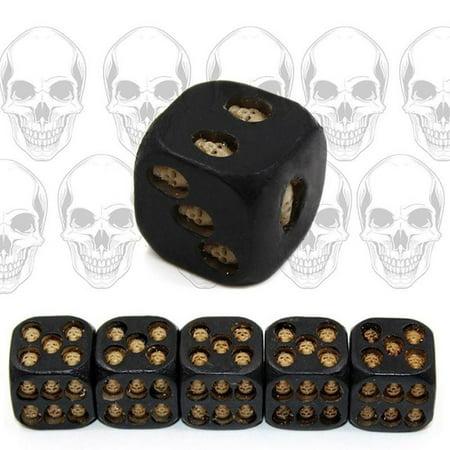 HiCoup 5Pcs Creative 6 Sided Skeleton Skull Resin Dice Halloween Festival Bar Game - Halloween Games For Church Festival