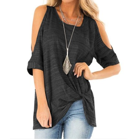 Women Casual Half Sleeve Tops Round Neck Irrgular Blouses T-shirt Off Shoulder Shirts