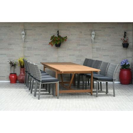 Amazonia  Valerie 11-pc Wood & Wicker Double Extendable Dining Set Teak/100% -
