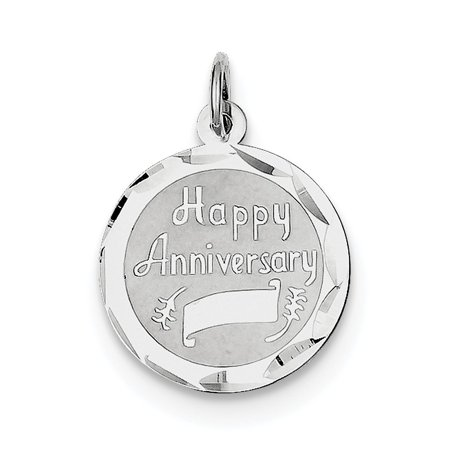 Sterling Silver Happy Anniversary Disc Charm - .9 (Happy Anniversary Disc Charm)
