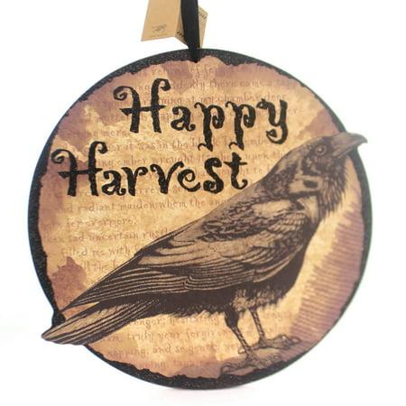 Halloween Harvest Crow Hang Up Wood Black Bird Raven 19740