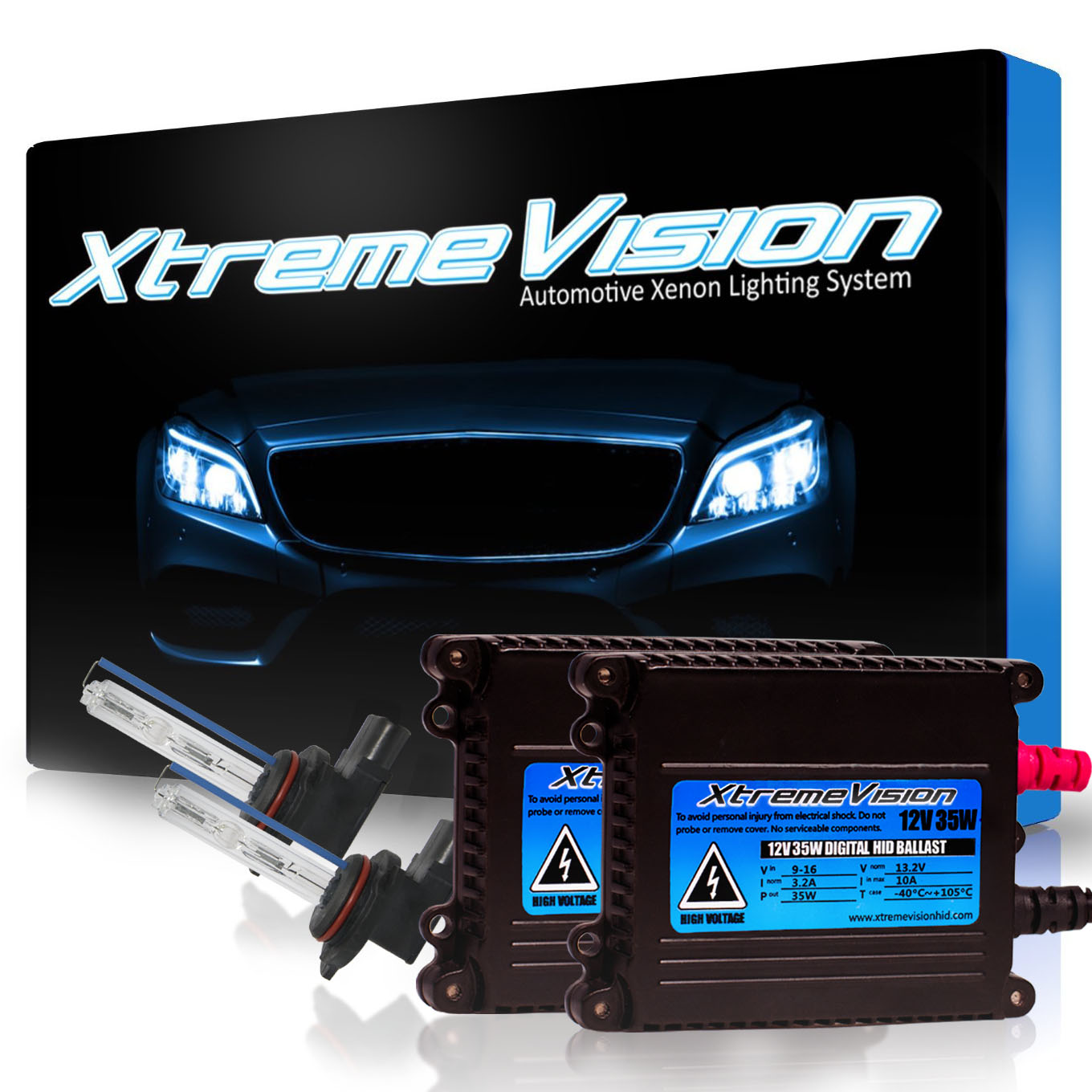 XtremeVision 35W HID Xenon Conversion Kit with Premium Slim Ballast - 9012 6000K - Light Blue - 2 Year Warranty