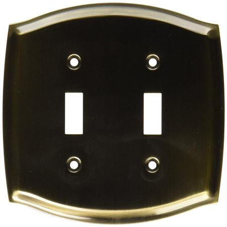 Baldwin 4766050 Colonial Double Toggle Solid Brass Switch plate, Satin Brass & Black ()