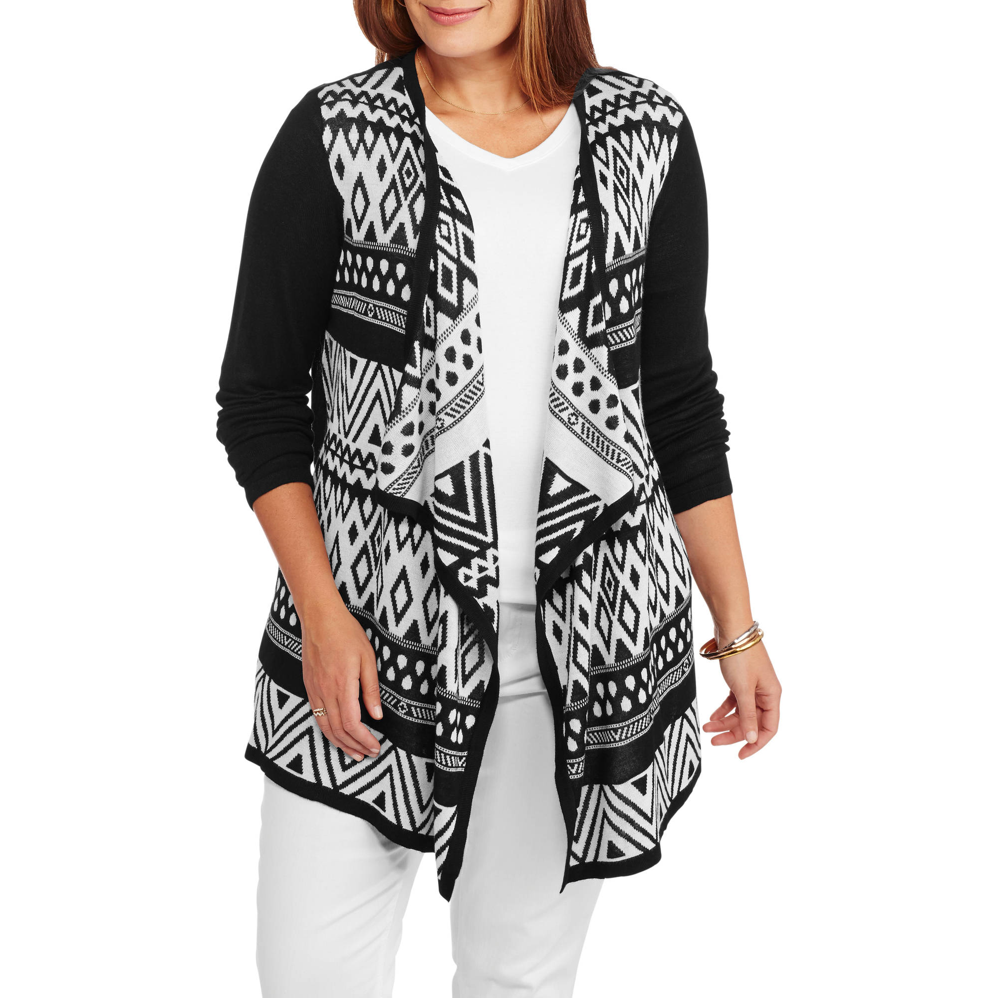Faded Glory Women's Plus Open Front Jacquard Cardigan