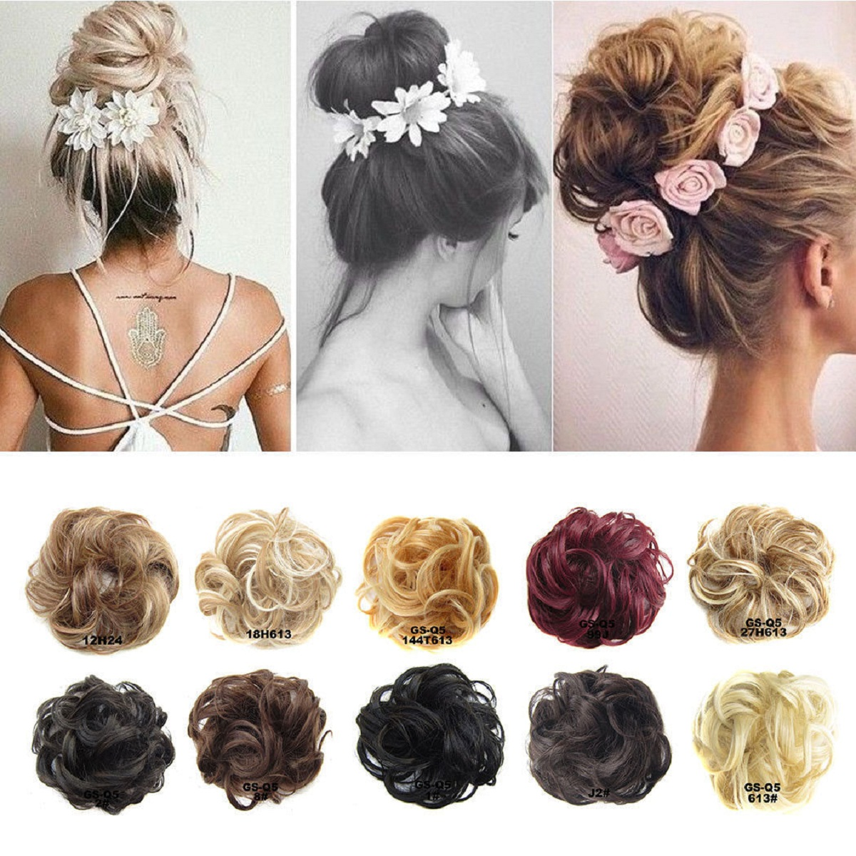 Curly Messy Bun Hair Piece Hair Scrunchie Fake Natural Look Extensions Hairpiece