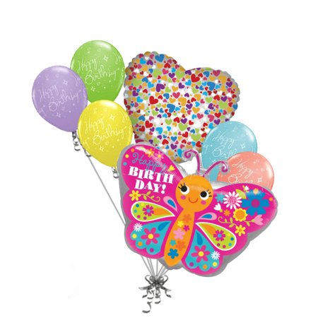Spring Birthday Themes (7 pc Colorful Pink Happy Birthday Butterfly Balloon Bouquet Party Decor)