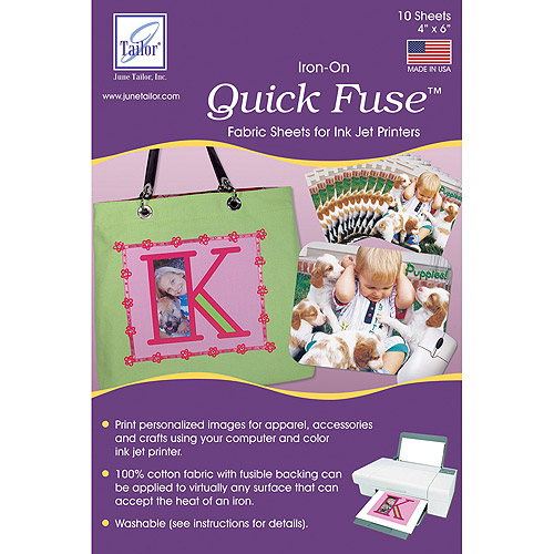 "Quick Fuse Iron-On Mini Inkjet Fabric Sheets, White, 4"" x 6"", 10/pkg"