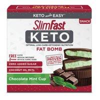 SlimFast Keto Fat Bomb Snacks, Mint Cup, Pack of 14