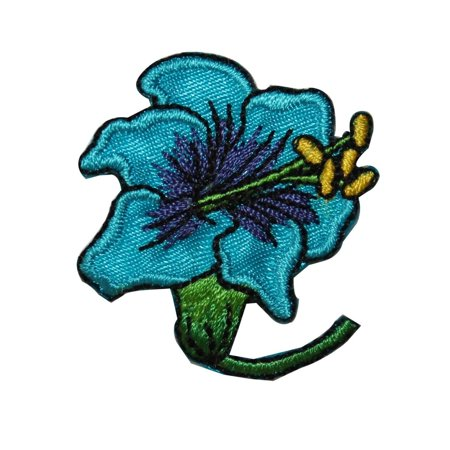 ID 6605 Blue Hibiscus Flower Patch Tropical Blossom Embroidered Iron On Applique ()