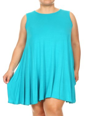 MOA COLLECTION Women's Plus Size Solid Casual Comfy Lightweight Sleeveless Pleat Tunic Top Mini Dress