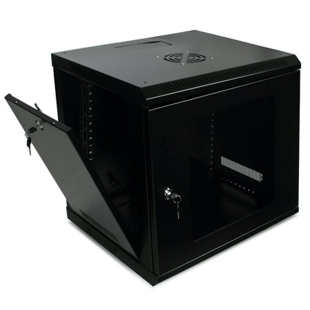 Onebigoutlet? 9U Server Data Cabinet Glass Door Locking with Key Enclosure Wall Mount Network Rack  (Black)