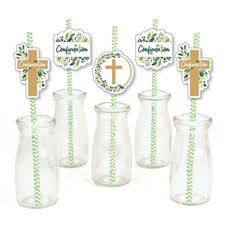 Elegant Straw - Confirmation Elegant Cross - Paper Straw Decor - Religious Party Striped Decorative Straws - Set of 24